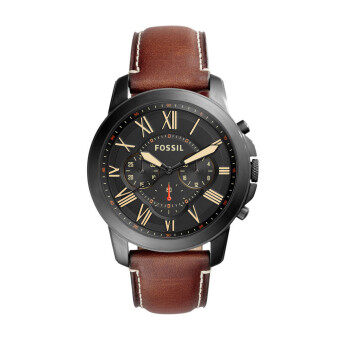 Harga Fossil Men FS5241 Grant Chronograph Brown Leather Watch