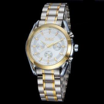 Harga Jaragar Six Pointers Gold Design Auto Mechanical Watch Steel Strap White Dial