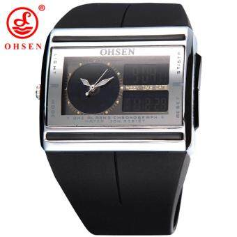Harga 2015 Promotion New Ad0518 Men Sports Watches Ohsen Brand Led Electronic Dual Core Outdoor Wristwatch Military Watch Clearance