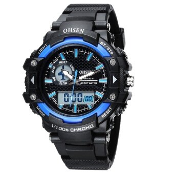 Harga AOXINDA OHSEN Multi Function Jam Mens Military Watches DualTime Digital Analog Chronograph Sport Wrist Watch 50M Water Resistant Waterproof for Boy Girls Gift - Blue