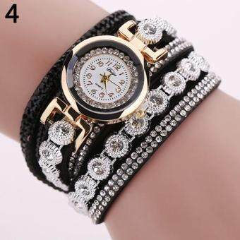 Harga DUOYA Women Multilayer Knitted Faux Leather Strap Rhinestone Bracelet Quartz Wrist Watch (Black)