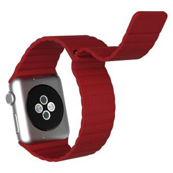 Harga Genuine Leather Band for Apple Watch iwatch,Replacement Leather strap for Apple Watch 42mm (Red)