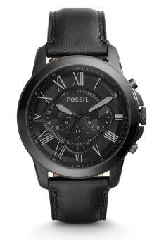 Harga Fossil Men's FS5132 Grant Chronograph Black Case Black Leather Watch (Black)