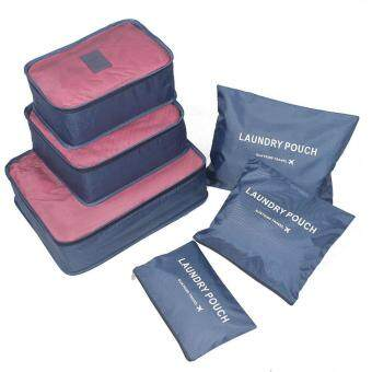 Harga leegoal KAIL 6Pcs Waterproof Travel Storage Bags Clothes Packing Cube Luggage Organizer Pouch (Deep Blue)