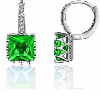 Harga Silver Plated Square Cubic Zirconia Stud Earrings For Women CZ Diamond Jewelry Green Pendientes Crystal Earring BME169