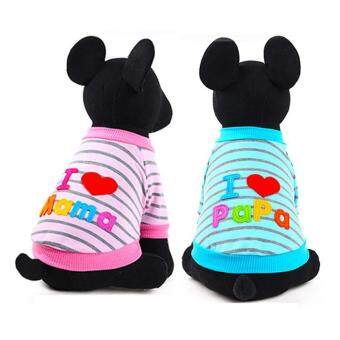 Harga New Pet Clothes Letter I Love My Mama/papa Round Neck Shirt Dog/Cat Clothes(Size:S,Color:Pink)