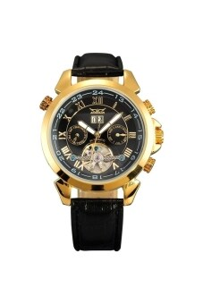 Harga JARGAR W011 Multi-functional Men's Boys Round Dial Automatic Mechanical Wrist Watch with Date /Week /PU Band Golden+Black