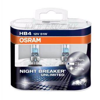 Harga HB4 One Pair of Osram Night Breaker Unlimited 9006 Bulbs 51W 12V Brand New