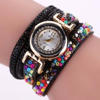 Harga DUOYA Fashion Luxury Rhinestone Watchs Women Casual Fabric Strap New Quartz Analog Ladies Bracelet Colorful Wrist Watch Clock