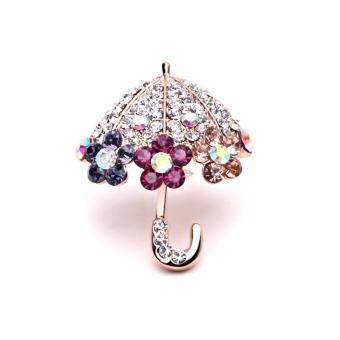 Harga FANCICO Rhinestone Umbrella Brooch Pin