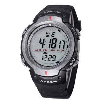 Harga Waterproof Outdoor Sports Men Digital LED Quartz Alarm Date Wrist Watch Grey