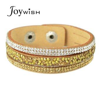 Harga Joywish Adjustable Wide Pu Leather Rhinestone Wrap Bracelets