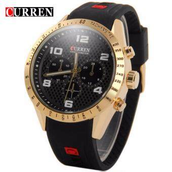 Harga Curren 8167 Men's Leather Strap Watch - Gold Black