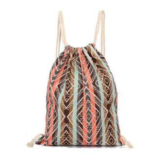 Harga Women National Canvas Drawstring School Backpack Vintage College Student Girls Casual Bag Foldable Bags (Orange)
