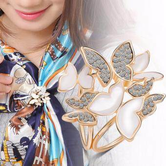 Harga FANCICO Three Ring Butterflies Rhinestone Scarves Clip Scarves Ring