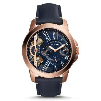 Harga Fossil Men's Grant Quartz Twist Three-Hand Navy Blue Leather Strap Watch ME1162