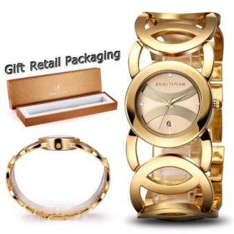 Harga JIANGYUYAN Brand Luxury Crystal Gold Watches for Women Fashion Dress Bracelet Quartz Watch With Auto Date 380802-393901
