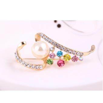 Harga FANCICO Fashion colorful Rhinestones pearl brooch jewelry gifts