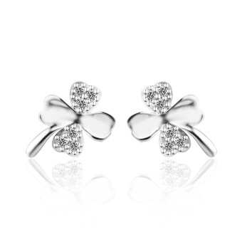 Harga Jiayiqi Copper Plated Platinum Four-leaf Clover Silver Stud Earrings