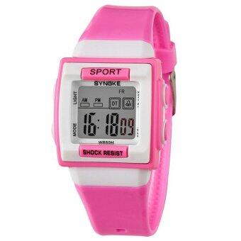 Harga Top Seller Outdoor Sports Casual Digital Wrist Watch Waterproof Kids Watches Clock 66188 (Pink)