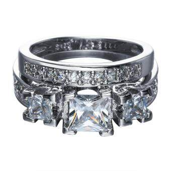 Harga Bigood 2pcs White Square CZ Plated 925 Sterling Silver Ring