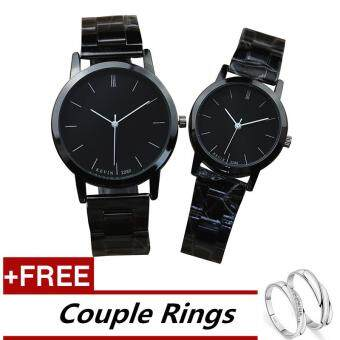 Harga KEVIN 2280 Couple Lover Women Men Quartz Steel Wrist Watch Black +Free Adjustable Lovers Rings (Buy 1 Get 1 Free)