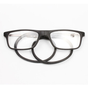 Harga 2016 New Folding Magnetic Reading Glasses Natural rubber Readers Glasses +1.0 (Black)