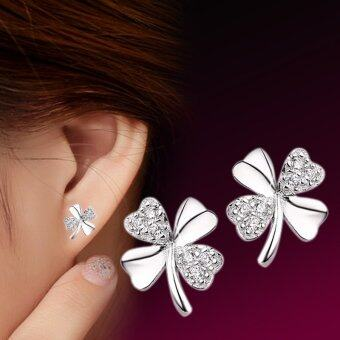 Harga 1 Pair 925 Sterling Sliver Fashion Jewelry Clover Rhinestones Earrings Ear Studs Earring for Women