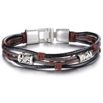 Harga YOUNIQ Handmade Fashion Leather Bracelet Silver Wristband For Men