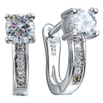 Harga Bigood White Crystal CZ Plated 925 Sterling Silver U Charm Ear Stud Drop Hoop Clip Earrings