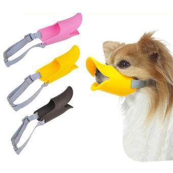 Harga Puppy Dog Pet Duck Duckling Design Soft Silicone Adjustable Guardian Gear Muzzle Yellow 4.5cm