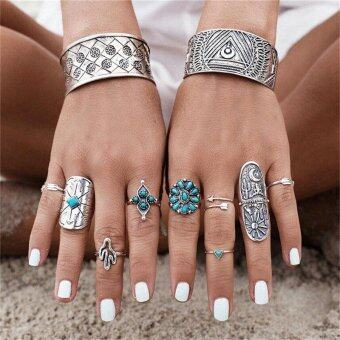 Harga Boho Style 9PCS/Set Silver Punk Vintage Ring Womens Retro Geometry Finger Rings Style9