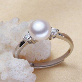 Harga Special 925 silver natural freshwater pearl ring can freely adjust the size of the ring factory direct sales