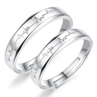Harga 2 PCS Adjustable Rings Couple Rings Jewellry 925 Silver Adjustable Lovers Rings E017