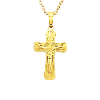 Harga MagiDeal Stainless Steel Crucifix Jesus Cross Pendant Necklace Gold#2