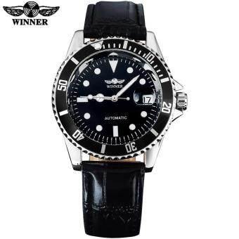 Harga 2016 WINNER popular brand men luxury automatic self wind watches creative case black dial transparent glass leather band