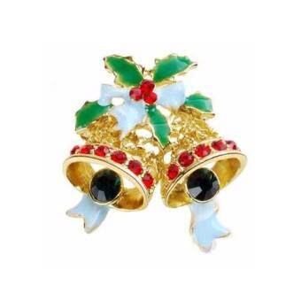 Harga FANCICO Vintage Colour Christmas Bells Rhinestone Brooch Pins Luxury Brooches