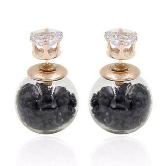 Harga FANCICO Crystal Ball Women Bubble Earrings Double Sided Black crystal