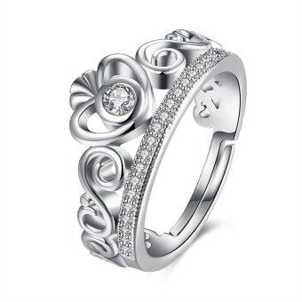 Harga Fashion 925 Silver Natural Gemstones White Crystal Sapphire Wedding Birthstone Bride Crown Ring Jewelry