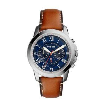 Harga Fossil Watch Grant Brown Stainless-Steel Case Leather Strap Mens NWT + Warranty FS5210