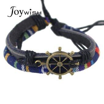 Harga Joywish Black PU Leather Blue Rope Adjustable Rudder Wrap Bracelets For Women