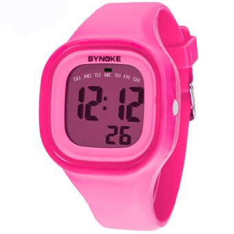 Harga Fashion Colorful Kid and Children's Silicone Sport Waterproof Digital Watches-Pink(66896)