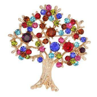 Harga MagiDeal Stunning Colorful Crystal Rhinestones Tree of Life Brooch Pin