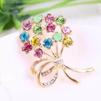 Harga FANCICO Shiny colored bouquet Pin brooch
