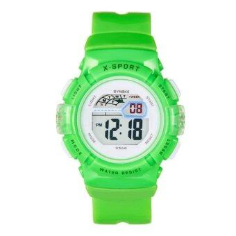 Harga SYNOKE Waterproof Children Boys Girl Digital LED Sports With Date Wrist Watch Green