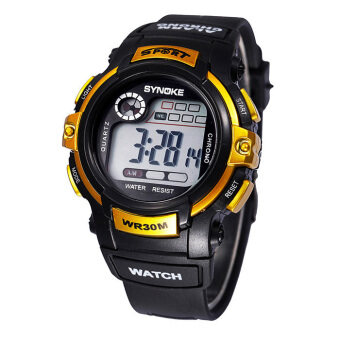 Harga Multifunction Boy Digital LED Quartz Alarm Date Sports Waterproof Wrist Watch Gold