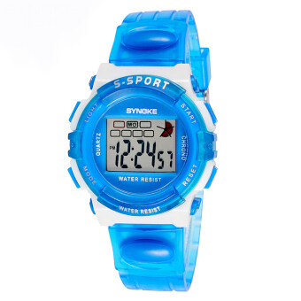 Harga New Causal Fashion Children Kids Boy and Girls Alarm Waterproof Sports Watches-Transparent Blue