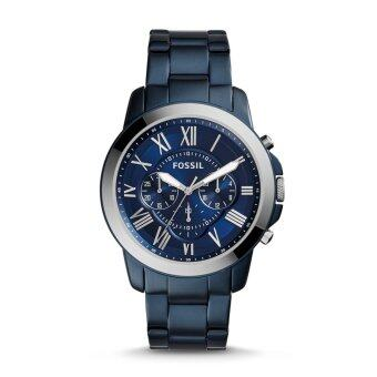 Harga Fossil Men Grant Blue Dial Chronograph Stainless Steel Bracelet Watch FS5230