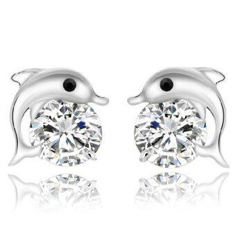 Harga Jiayiqi White Big Diamond 925 Sterling Silver Color Dolphin Studs Earrings