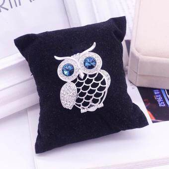 Harga FANCICO Owl Bird Green Crystal Eyes Brooch Pin-Gold